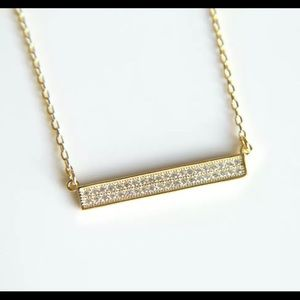 925 Gold plated pave crystal bar necklace